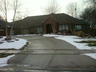 front view of very large circle driveway in Mitchell, SD