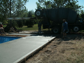 The crew pouring a swimming pool in Mitchell, SD